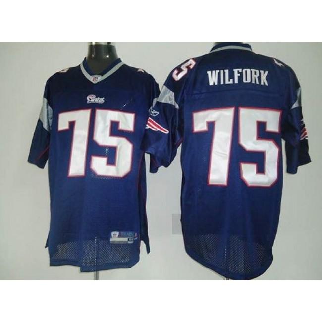 Patriots #75 Vince Wilfork Dark Blue Stitched NFL Jersey