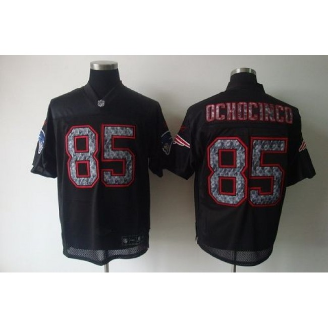 Sideline Black United Patriots #85 Chad Ochocinco Black Stitched NFL Jersey