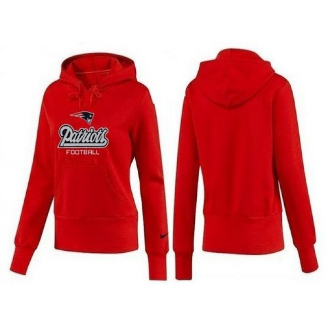 Women's New England Patriots Authentic Logo Pullover Hoodie Red Jersey
