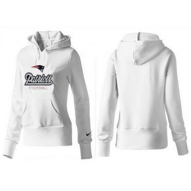 Women's New England Patriots Authentic Logo Pullover Hoodie White Jersey