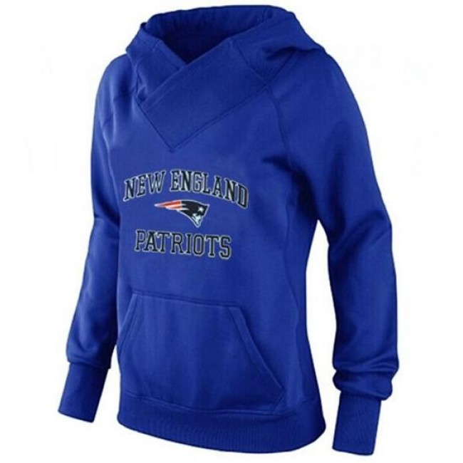 Women's New England Patriots Heart Soul Pullover Hoodie Blue Jersey