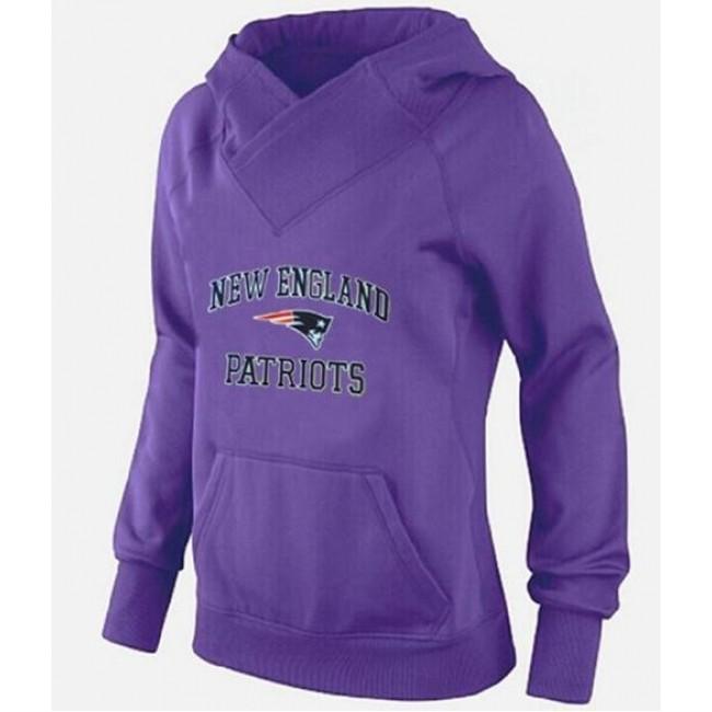 Women's New England Patriots Heart Soul Pullover Hoodie Purple Jersey