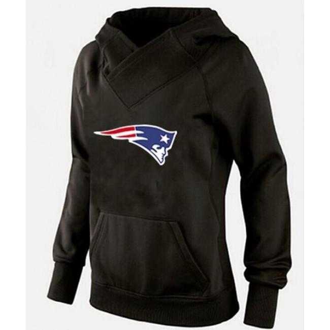 Women's New England Patriots Logo Pullover Hoodie Black Jersey