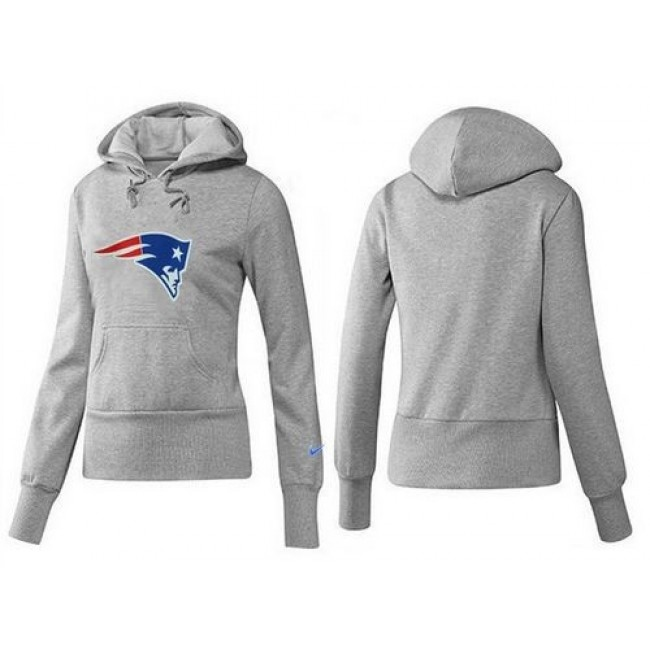 Women's New England Patriots Logo Pullover Hoodie Grey Jersey