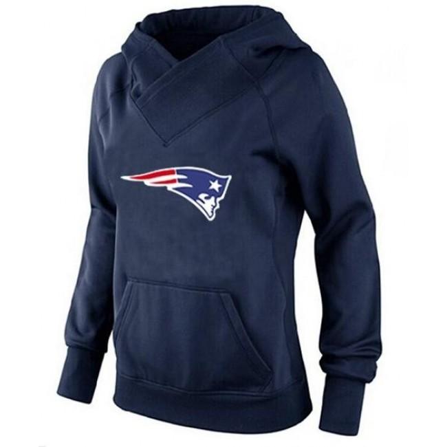 Women's New England Patriots Logo Pullover Hoodie Navy Blue Jersey