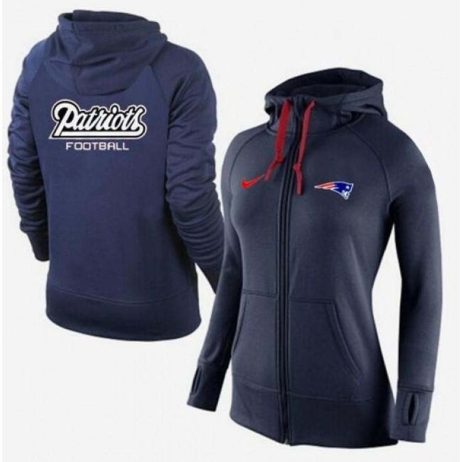Women's New England Patriots Full-Zip Hoodie Dark Blue Jersey