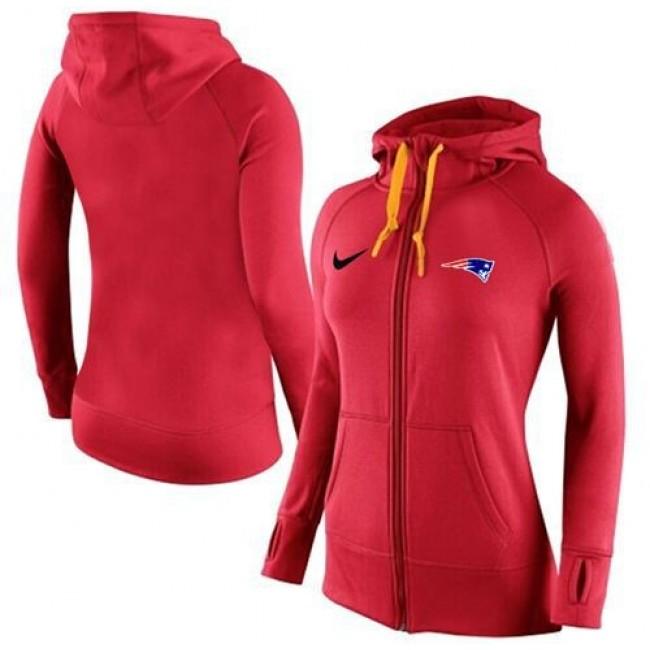 Women's New England Patriots Full-Zip Hoodie Red Jersey