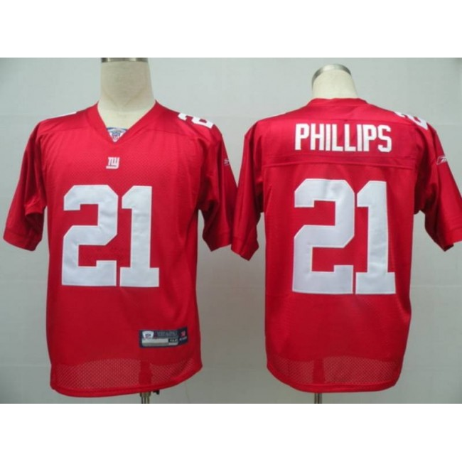 Giants #21 Kenny Phillips Red Stitched NFL Jersey