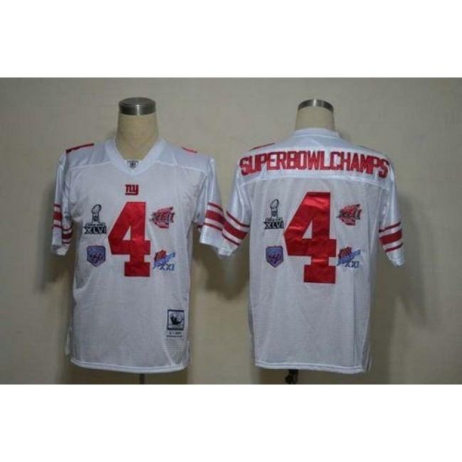 Giants #4 SuperBowl Champs White Stitched NFL Jersey