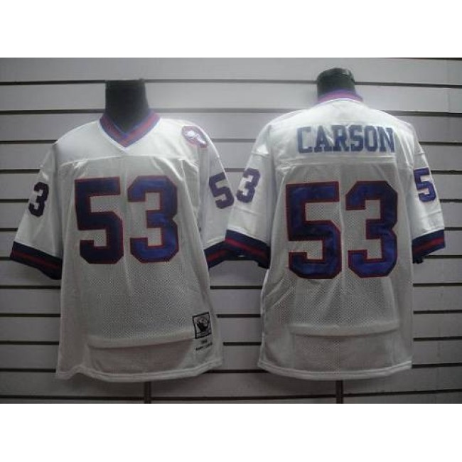 Mitchell and Ness Giants #53 Harry Carson White Stitched NFL Jersey
