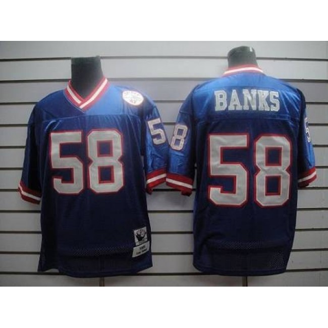 Mitchell and Ness Giants #58 Carl Banks Blue Stitched NFL Jersey