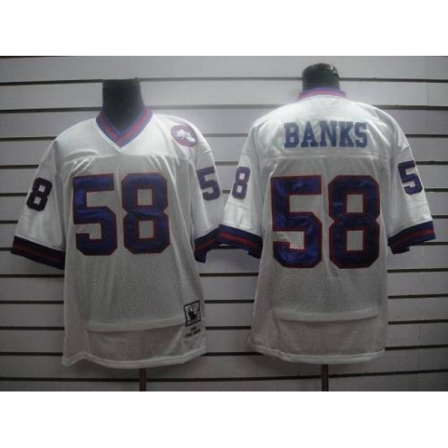 Mitchell and Ness Giants #58 Carl Banks White Stitched NFL Jersey