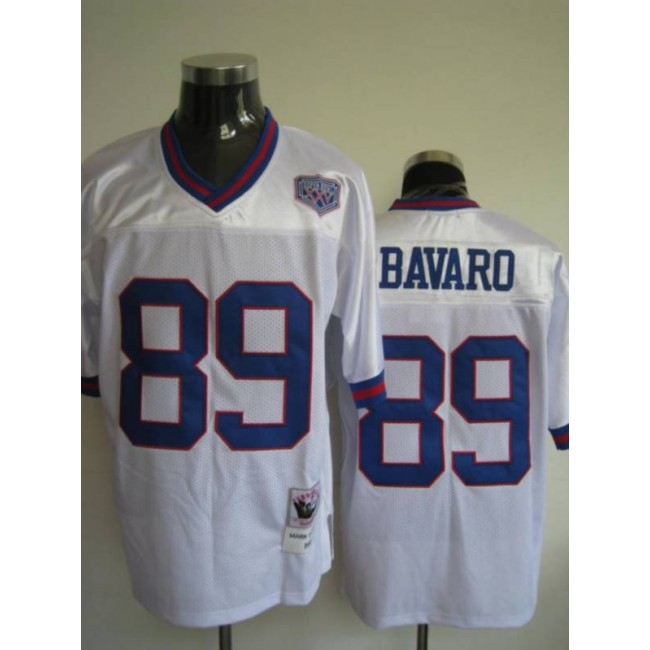 Mitchell and Ness Giants #89 Mark Bavaro Stitched White NFL Jersey