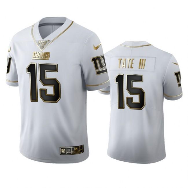 New York Giants #15 Golden Tate III Men's Nike White Golden Edition Vapor Limited NFL 100 Jersey