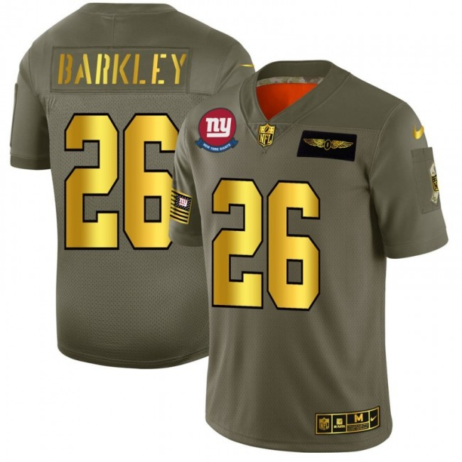 New York Giants #26 Saquon Barkley NFL Men's Nike Olive Gold 2019 Salute to Service Limited Jersey