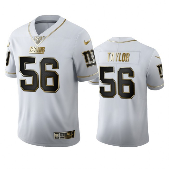 New York Giants #56 Lawrence Taylor Men's Nike White Golden Edition Vapor Limited NFL 100 Jersey