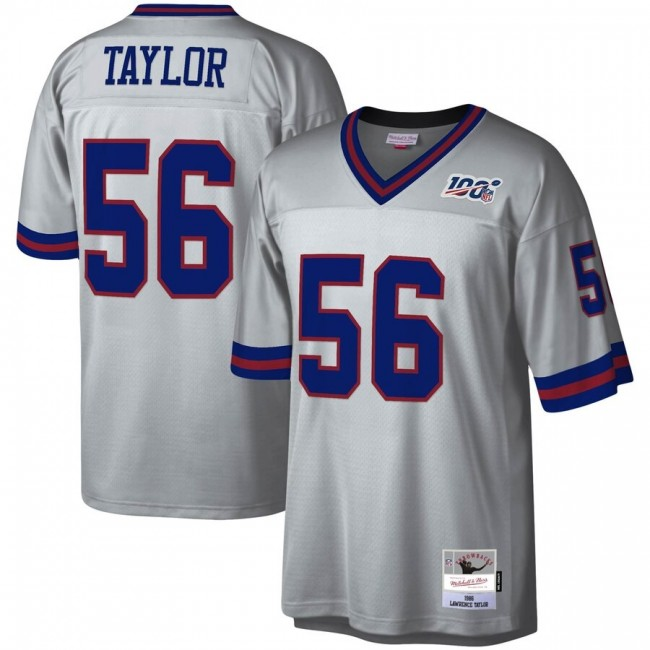 New York Giants #56 Lawrence Taylor Mitchell & Ness NFL 100 Retired Player Platinum Jersey