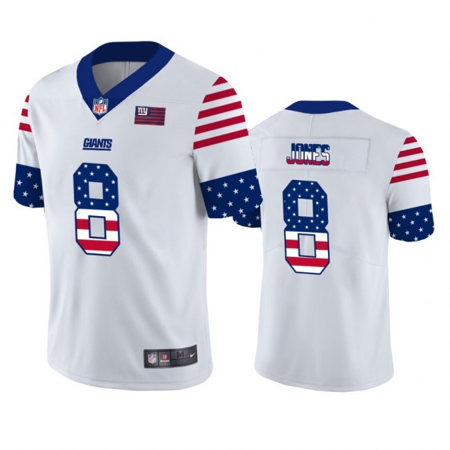 New York Giants #8 Daniel Jones White Men's Nike Team Logo USA Flag Vapor Untouchable Limited NFL Jersey