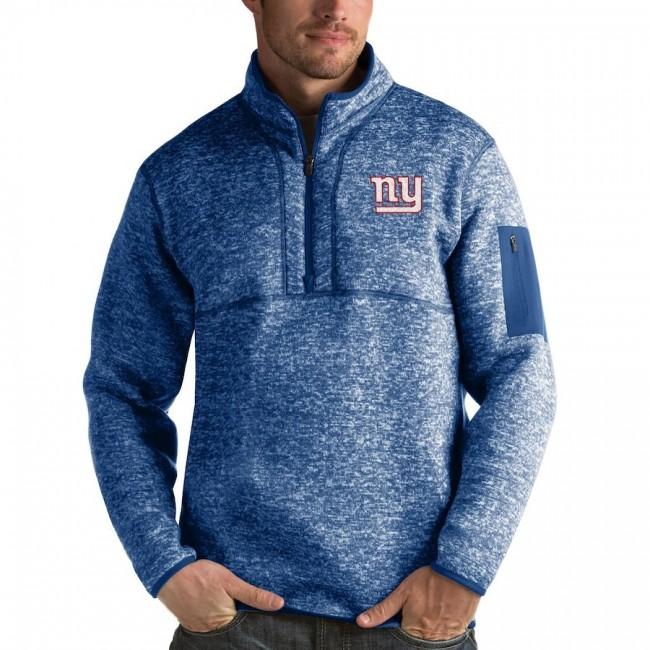 New York Giants Antigua Fortune Quarter-Zip Pullover Jacket Royal