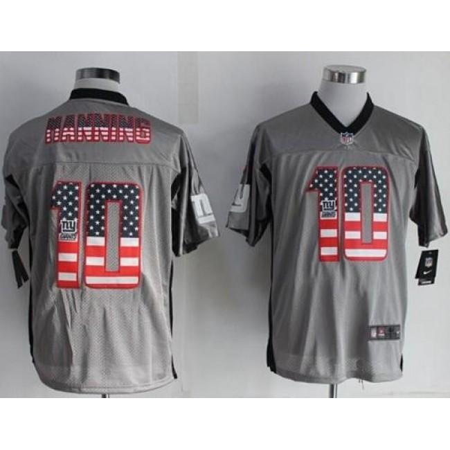 Nike Giants #10 Eli Manning Grey Men's Stitched NFL Elite USA Flag Fashion Jersey