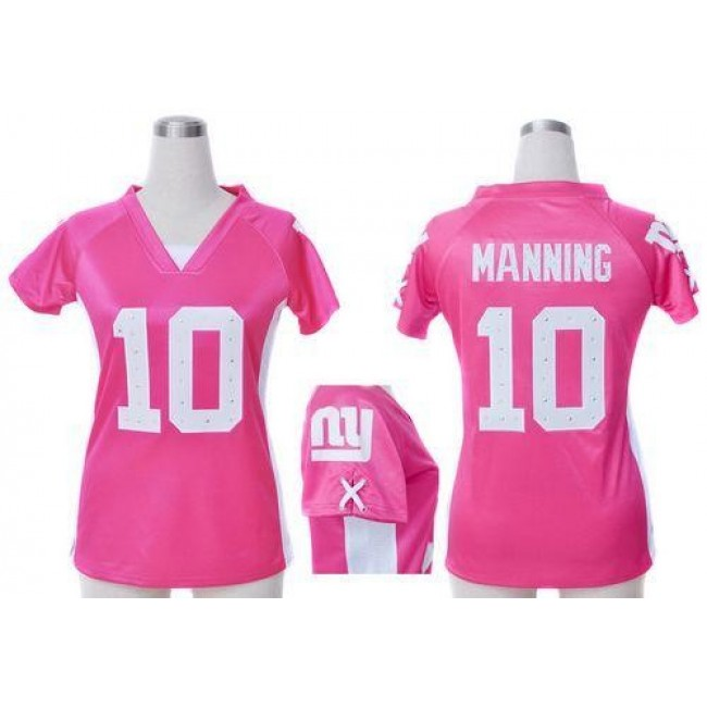 Women's Giants #10 Eli Manning Pink Draft Him Name Number Top Stitched NFL Elite Jersey