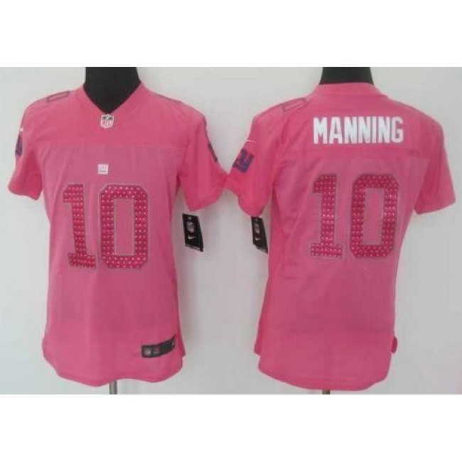 Women's Giants #10 Eli Manning Pink Sweetheart Stitched NFL Elite Jersey