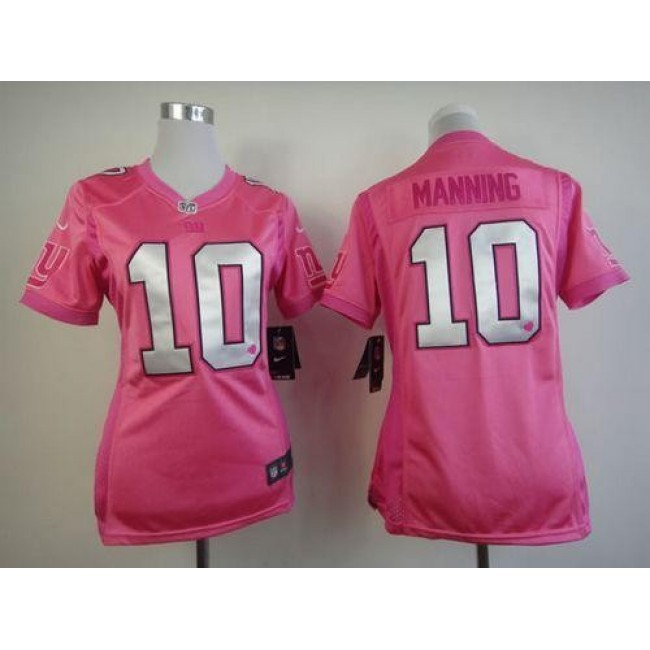 Women's Giants #10 Eli Manning Pink Be Luv'd Stitched NFL Elite Jersey