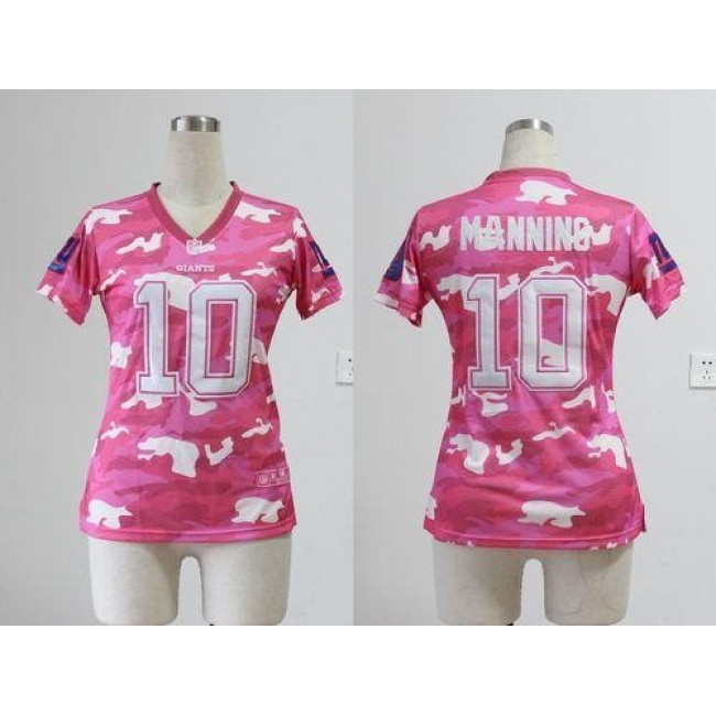 Women's Giants #10 Eli Manning Pink Stitched NFL Elite Camo Jersey