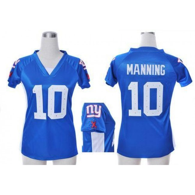 Women's Giants #10 Eli Manning Royal Blue Team Color Draft Him Name Number Top Stitched NFL Elite Jersey