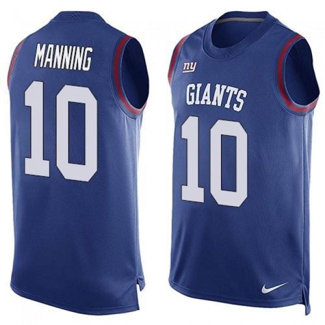 Nike Giants #10 Eli Manning Royal Blue Team Color Men's Stitched NFL Limited Tank Top Jersey