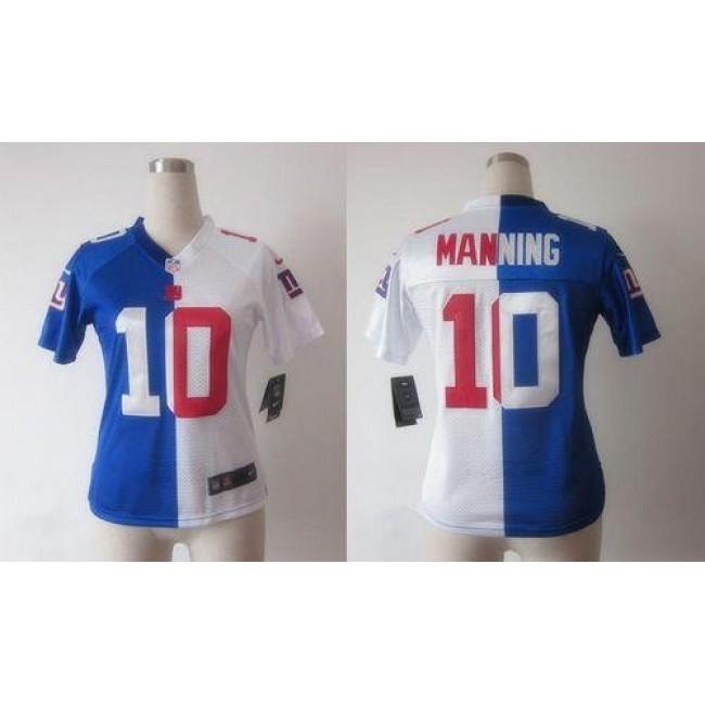 Women's Giants #10 Eli Manning Royal Blue White Stitched NFL Elite Split Jersey