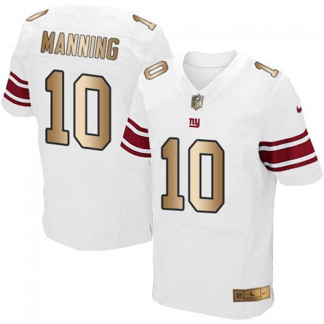 Nike Giants #10 Eli Manning White Men's Stitched NFL Elite Gold Jersey