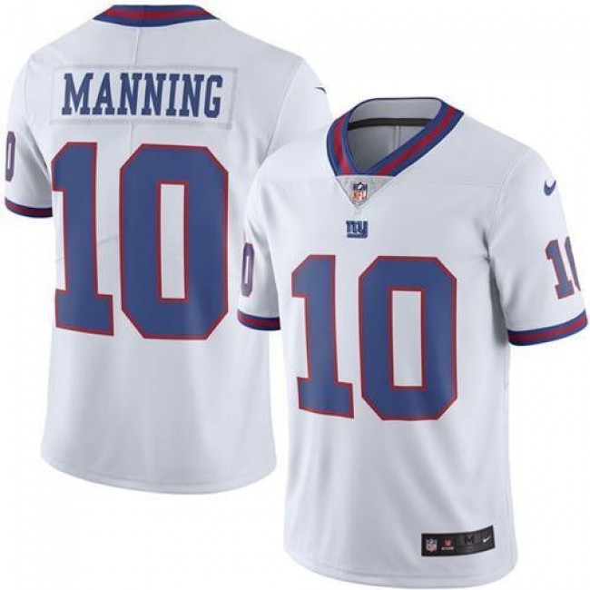 Nike Giants #10 Eli Manning White Men's Stitched NFL Limited Rush Jersey