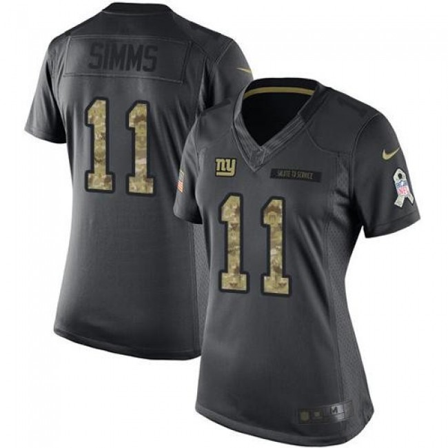 Women's Giants #11 Phil Simms Black Stitched NFL Limited 2016 Salute to Service Jersey