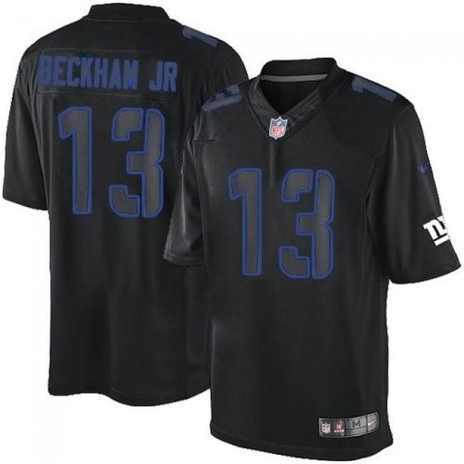 Nike Giants #13 Odell Beckham Jr Black Men's Stitched NFL Impact Limited Jersey