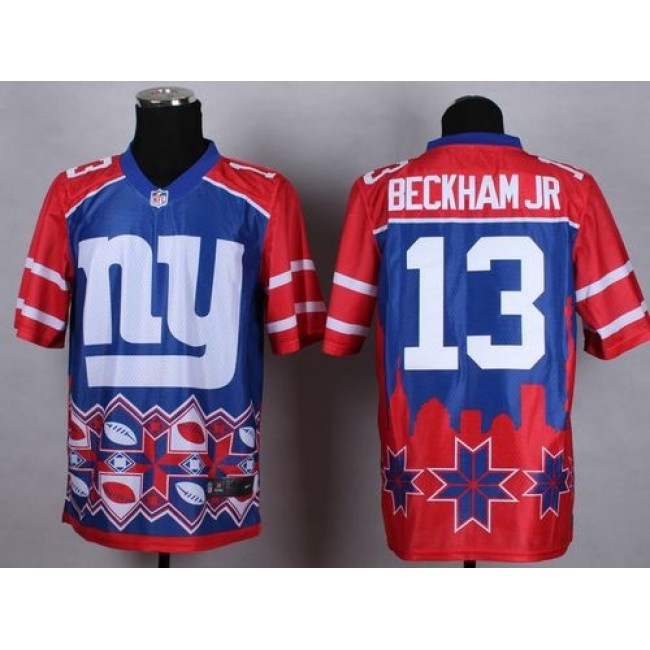 Nike Giants #13 Odell Beckham Jr Blue Men's Stitched NFL Elite Noble Fashion Jersey