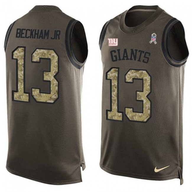 Nike Giants #13 Odell Beckham Jr Green Men's Stitched NFL Limited Salute To Service Tank Top Jersey