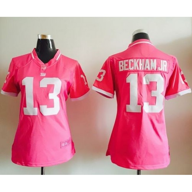 Women's Giants #13 Odell Beckham Jr Pink Stitched NFL Elite Bubble Gum Jersey