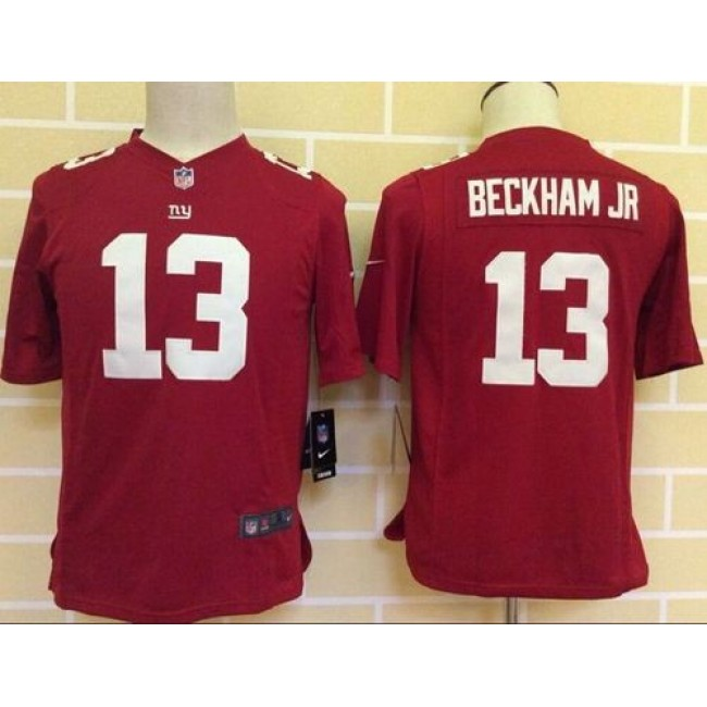 New York Giants #13 Odell Beckham Jr Red Alternate Youth Stitched NFL Elite Jersey