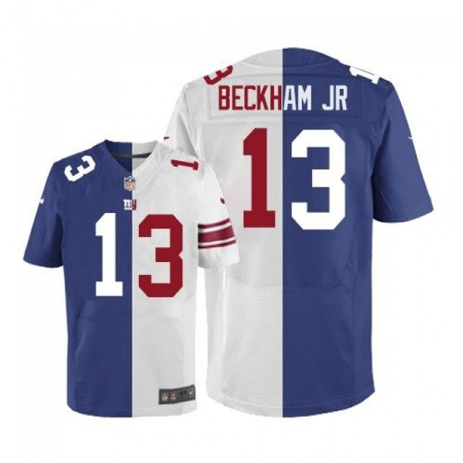 Nike Giants #13 Odell Beckham Jr Royal Blue/White Men's Stitched NFL Elite Split Jersey