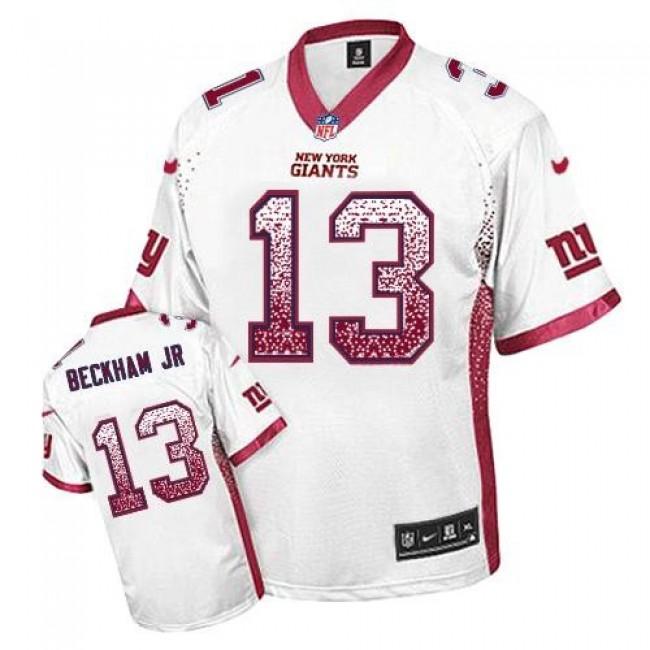 Nike Giants #13 Odell Beckham Jr White Men's Stitched NFL Elite Drift Fashion Jersey