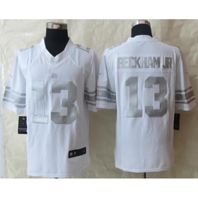 Nike Giants #13 Odell Beckham Jr White Men's Stitched NFL Limited Platinum Jersey