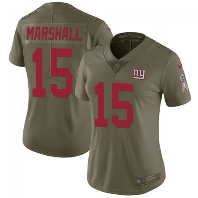 Women's Giants #15 Brandon Marshall Olive Stitched NFL Limited 2017 Salute to Service Jersey