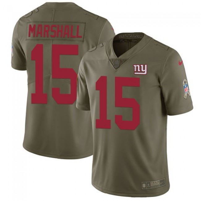 New York Giants #15 Brandon Marshall Olive Youth Stitched NFL Limited 2017 Salute to Service Jersey