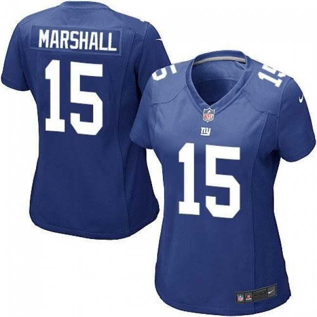 Women's Giants #15 Brandon Marshall Royal Blue Team Color Stitched NFL Elite Jersey