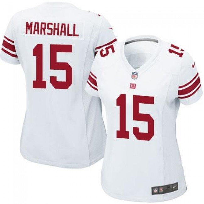 Women's Giants #15 Brandon Marshall White Stitched NFL Elite Jersey