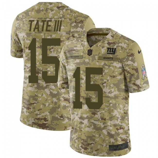 Nike Giants #15 Golden Tate Camo Men's Stitched NFL Limited 2018 Salute To Service Jersey