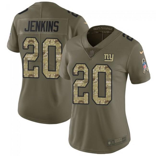 Women's Giants #20 Janoris Jenkins Olive Camo Stitched NFL Limited 2017 Salute to Service Jersey