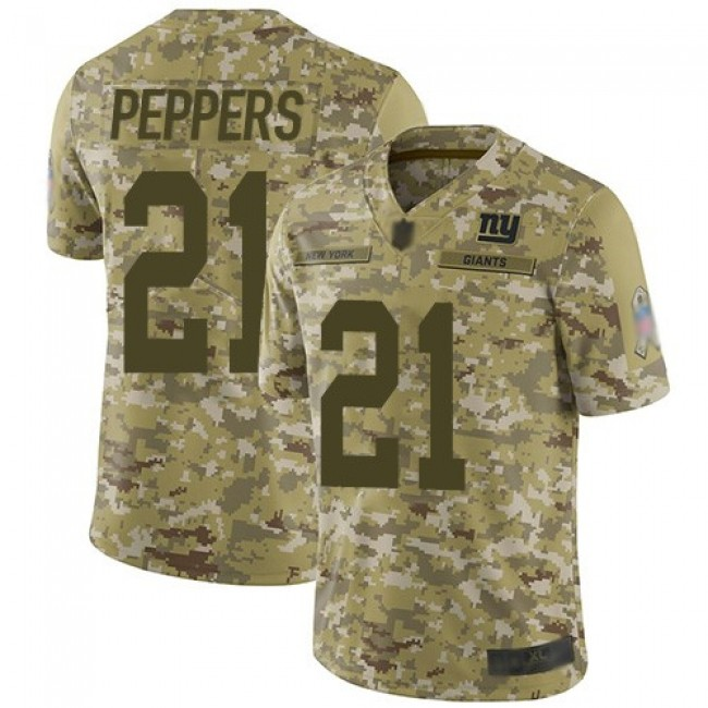 Nike Giants #21 Jabrill Peppers Camo Men's Stitched NFL Limited 2018 Salute To Service Jersey