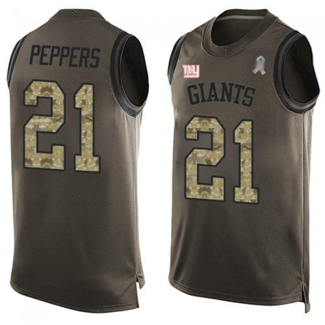 Nike Giants #21 Jabrill Peppers Green Men's Stitched NFL Limited Salute To Service Tank Top Jersey